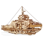 Ugears Tugboat 3D Mechanical Wooden Model Kit - 169 Parts Laser Cut Wood